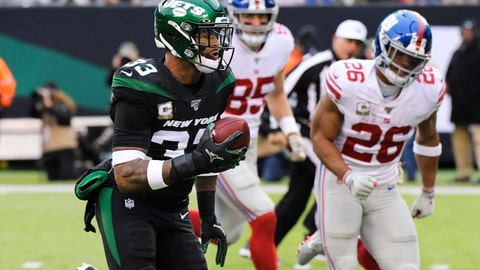 <p>               New York Jets strong safety Jamal Adams (33) runs past New York Giants' Saquon Barkley (26) for a touchdown during the second half of an NFL football game Sunday, Nov. 10, 2019, in East Rutherford, N.J. (AP Photo/Bill Kostroun)             </p>