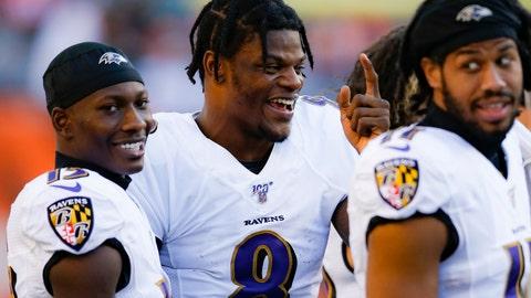 <p>               Baltimore Ravens quarterback Lamar Jackson, center, laughs on the sidelines during the second half of NFL football game against the Cincinnati Bengals, Sunday, Nov. 10, 2019, in Cincinnati. (AP Photo/Gary Landers)             </p>