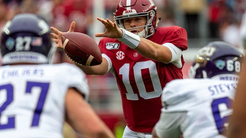 <p>               Alabama quarterback Mac Jones (10) grabs a wide snap from the shotgun position during the first half of an NCAA college football game against Western Carolina, Saturday, Nov. 23, 2019, in Tuscaloosa, Ala. (AP Photo/Vasha Hunt)             </p>