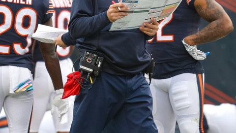<p>               Chicago Bears head coach Matt Nagy paces the sideline during the first half of an NFL football game against the New Orleans Saints in Chicago, Sunday, Oct. 20, 2019. (AP Photo/Charles Rex Arbogast)             </p>