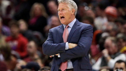 <p>               Philadelphia 76ers head coach Brett Brown yells instructions to players in the second half of an NBA basketball game against the Cleveland Cavaliers, Sunday, Nov. 17, 2019, in Cleveland. The 76ers won 114-95. (AP Photo/Tony Dejak)             </p>