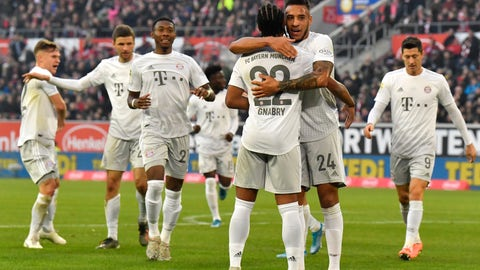 <p>               Bayern's Corentin Tolisso (24) celebrates after scoring his side's second goal during the German Bundesliga soccer match between Fortuna Duesseldorf and FC Bayern Munich in Duesseldorf, Germany, Saturday, Nov. 23, 2019. (AP Photo/Martin Meissner)             </p>