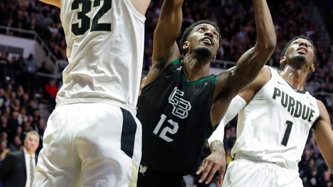 <p>               Purdue center Matt Haarms (32) blocks the shot of Green Bay forward Josh McNair (12) during the first half of an NCAA college basketball game in West Lafayette, Ind., Wednesday, Nov. 6, 2019. (AP Photo/Michael Conroy)             </p>