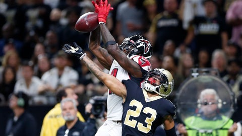 <p>               Atlanta Falcons wide receiver Julio Jones (11) tries in vain to pull in a pass in the end zone over New Orleans Saints cornerback Marshon Lattimore (23) in the first half of an NFL football game in New Orleans, Sunday, Nov. 10, 2019. (AP Photo/Rusty Costanza)             </p>