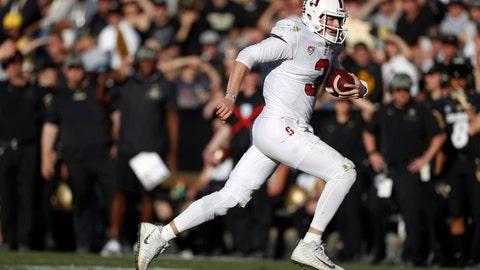 <p>               Stanford quarterback K.J. Costello runs for a short gain against Colorado in the second half of an NCAA college football game, Saturday, Nov. 9, 2019, in Boulder, Colo. Colorado won 16-13. (AP Photo/David Zalubowski)             </p>