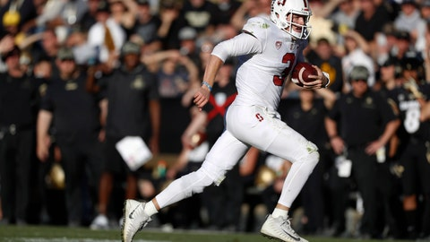<p>               Stanford quarterback K.J. Costello runs for a short gain against Colorado in the second half of an NCAA college football game, Saturday, Nov. 9, 2019, in Boulder, Colo. Colorado won 16-13. (AP Photo/David Zalubowski)             </p>