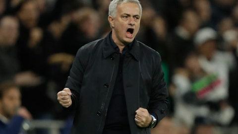 <p>               Tottenham's manager Jose Mourinho celebrates his team second goal during the Champions League Group B soccer match between Tottenham Hotspur and Olympiakos at the Tottenham Hotspur Stadium in London, Tuesday, Nov. 26, 2019. (AP Photo/Matt Dunham)             </p>