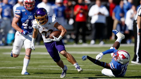 <p>               East Carolina receiver Tyler Snead (22) advances the ball after SMU safety Chace Cromartie, right, misses a tackle during the second half of an NCAA college football game, Saturday, Nov. 9, 2019, in Dallas. (AP Photo/Roger Steinman)             </p>