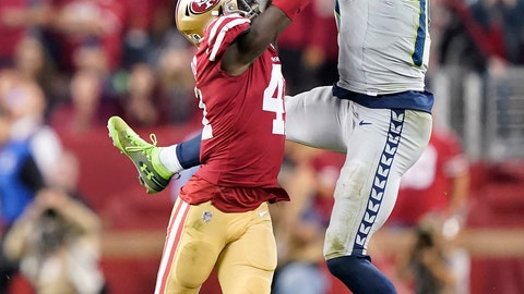 <p>               San Francisco 49ers defensive back Emmanuel Moseley, left, breaks up a pass intended for Seattle Seahawks wide receiver D.K. Metcalf during overtime of an NFL football game in Santa Clara, Calif., Monday, Nov. 11, 2019. (AP Photo/Tony Avelar)             </p>