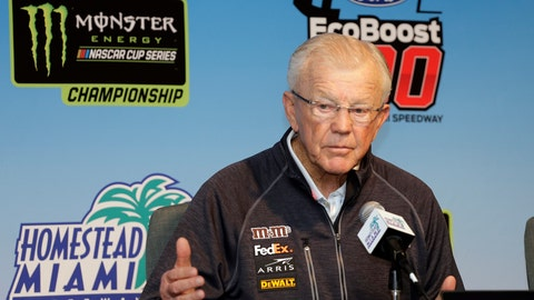 <p>               FILE - In this Nov. 16, 2018, file photo, Joe Gibbs, owner of Joe Gibbs Racing, speaks during a news conference for a NASCAR Cup series auto race at the Homestead-Miami Speedway in Homestead, Fla. Gibbs is a Hall of Fame NFL coach with three Super Bowl titles yet still changed course in his early 50s to wade into NASCAR and see if he could not build a second career and a family business. (AP Photo/Terry Renna, File)             </p>
