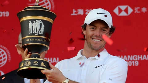 <p>               Rory McIlroy of Northern Ireland raises the trophy after winning the HSBC Champions golf tournament at the Sheshan International Golf Club in Shanghai on Sunday, Nov. 3, 2019. (AP Photo/Ng Han Guan)             </p>