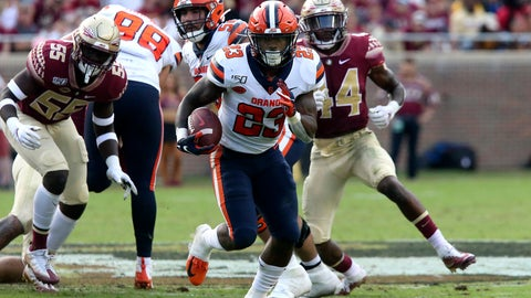 <p>               Syracuse's Abdul Adams (23) picks up yardage during the third quarter of an NCAA college football game with Florida State, Saturday, Oct. 26, 2019 in Tallahassee Fla. (AP Photo/Steve Cannon)             </p>