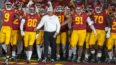 LOS ANGELES, CA - AUGUST 31: USC Trojans head coach Clay Helton leads his team out on to the field during the game against the Fresno State Bulldogs on August 31, 2019, at the Los Angeles Memorial Coliseum in Los Angeles, CA. (Photo by Adam Davis/Icon Sportswire via Getty Images)