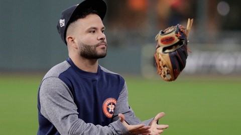 <p>               Houston Astros' Jose Altuve flips his glove during batting practice before Game 7 of the baseball World Series against the Washington Nationals Wednesday, Oct. 30, 2019, in Houston. (AP Photo/David J. Phillip)             </p>