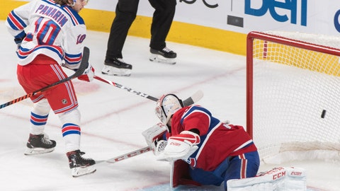<p>               New York Rangers' Artemi Panarin scores against Montreal Canadiens goaltender Carey Price during the third period of an NHL hockey game Saturday, Nov. 23, 2019, in Montreal. (Graham Hughes/The Canadian Press via AP)             </p>