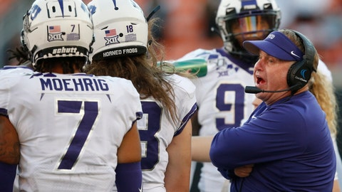 <p>               TCU head coach Gary Patterson talks to his team in the second half of an NCAA college football game against Oklahoma State in Stillwater, Okla., Saturday, Nov. 2, 2019. (AP Photo/Sue Ogrocki)             </p>
