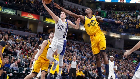 <p>               Indiana Pacers forward Doug McDermott (20) shoots in front of Utah Jazz forward Jeff Green (22) during the first half of an NBA basketball game in Indianapolis Wednesday, Nov. 27, 2019. (AP Photo/Michael Conroy)             </p>