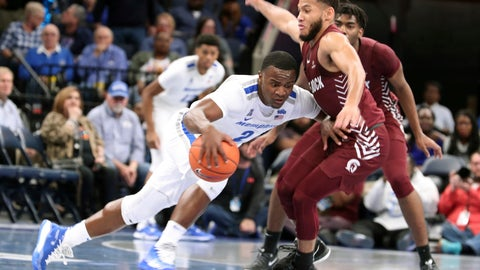 <p>               Memphis' Alex Lomax (2) tries to drive the ball past Little Rock's Markquis Nowell (1) during the first half of an NCAA college basketball game Wednesday, Nov. 20, 2019, in Memphis, Tenn. (AP Photo/Karen Pulfer Focht)             </p>