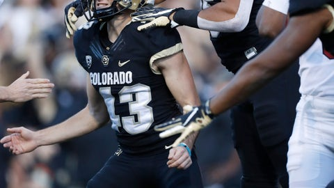 <p>               Colorado tight end Legend Brumbaugh, right, jumps on Colorado place kicker Evan Price after he kicked the winning field goal with time expiring in the second half of an NCAA college football game against Stanford, Saturday, Nov. 9, 2019, in Boulder, Colo. Colorado won 16-13. (AP Photo/David Zalubowski)             </p>