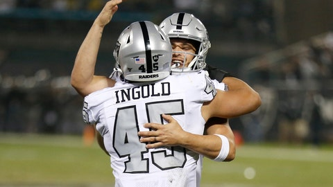 <p>               Oakland Raiders running back Alec Ingold (45) celebrates with quarterback Derek Carr after they connected on a touchdown pass against the Los Angeles Chargers during the first half of an NFL football game in Oakland, Calif., Thursday, Nov. 7, 2019. (AP Photo/D. Ross Cameron)             </p>