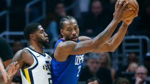 <p>               Los Angeles Clippers' Kawhi Leonard (2) is defended by Utah Jazz's Royce O'Neale (23) during the first half of an NBA basketball game Sunday, Nov. 3, 2019, in Los Angeles. (AP Photo/Ringo H.W. Chiu)             </p>