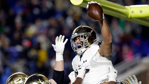 <p>               Notre Dame wide receiver Chase Claypool (83) celebrates a touchdown against Duke during the first half of an NCAA college football game in Durham, N.C., Saturday, Nov. 9, 2019. (AP Photo/Gerry Broome)             </p>