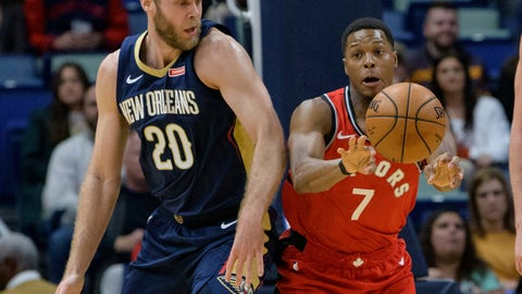 <p>               Toronto Raptors guard Kyle Lowry (7) passes the ball away from New Orleans Pelicans forward Nicolo Melli (20) during the first half of an NBA basketball game in New Orleans, Friday, Nov. 8, 2019. (AP Photo/Matthew Hinton)             </p>