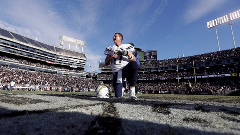 <p>               FILE - In this Oct. 12, 2016, file photo, San Diego Chargers quarterback Philip Rivers (17) kneels after an NFL football game against the Oakland Raiders in Oakland, Calif. From his first career start in 2006 to some riveting comebacks and crushing defeats, Chargers quarterback Philip Rivers has had plenty of memorable experiences playing against the Raiders at the Oakland Coliseum. So there will be a bit of nostalgia when Rivers plays his final scheduled game there Thursday night, Nov. 7, 2019,  when the Chargers (4-5) take on the Raiders (4-4) in a game crucial for both teams' playoff hopes. (AP Photo/Marcio Jose Sanchez, File)             </p>