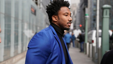 <p>               Cleveland Browns star defensive end Myles Garrett leaves an office building in New York, Wednesday, Nov. 20, 2019. Garrett is in New York for an appeals hearing to try to get the NFL to reduce an indefinite suspension that has temporarily ended Garrett's season and tarnished his career.  Garrett was banned last week for the rest of the regular season and playoffs for violently striking Pittsburgh quarterback Mason Rudolph with a helmet. (AP Photo/Seth Wenig)             </p>