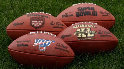 "<p>               In this Oct. 17, 2019, photo footballs are displayed at the Philadelphia Eagles's NFL football training facility in Philadelphia. Those shiny ""NFL 100"" logos on all the footballs being used to commemorate the league's centennial season are part of a lengthy process that goes into making each handcrafted leather game ball. Wilson has been the official game ball of the NFL since 1941. The size, shape and feel of the football have evolved over the years, but the personal touch remains the same. (AP Photo/Matt Rourke)             </p>"