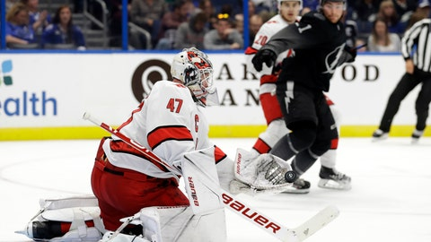 <p>               Carolina Hurricanes goaltender James Reimer (47) makes a glove save against the Tampa Bay Lightning during the second period of an NHL hockey game, Saturday, Nov. 30, 2019, in Tampa, Fla. (AP Photo/Chris O'Meara)             </p>
