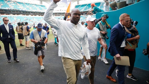 <p>               Miami Dolphins head coach Brian Flores walks off the field after his first win of the season after an NFL football game against the New York Jets, Sunday, Nov. 3, 2019, in Miami Gardens, Fla. (AP Photo/Wilfredo Lee)             </p>