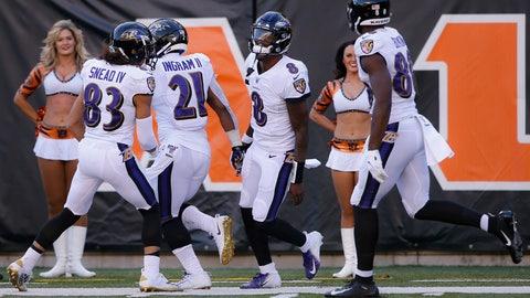 <p>               Baltimore Ravens quarterback Lamar Jackson (8) celebrates his touchdown during the second half of NFL football game against the Cincinnati Bengals, Sunday, Nov. 10, 2019, in Cincinnati. (AP Photo/Gary Landers)             </p>