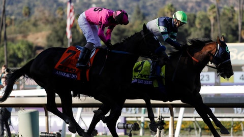 <p>               Storm the Court, right, with Flavien Prat, edges out Anneau D'or in the Breeders' Cup Juvenile horse race at Santa Anita, Friday, Nov. 1, 2019, in Arcadia, Calif. (AP Photo/Gregory Bull)             </p>
