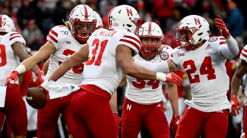 <p>               Nebraska linebacker Collin Miller (31) celebrates with teammates after recovering a fumble from Maryland running back Javon Leake (20) during a kick-return in the first half of an NCAA college football game, Saturday, Nov. 23, 2019, in College Park, Md. (AP Photo/Will Newton)             </p>