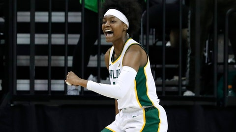 <p>               Baylor forward NaLyssa Smith (1) celebrates after sinking a basket in the first half of an NCAA college basketball game against Grambling State in Waco, Texas, Friday, Nov. 8, 2019. (AP Photo/Tony Gutierrez)             </p>