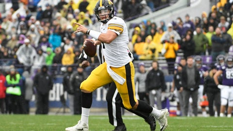 <p>               Iowa quarterback Nate Stanley (4) looks to pass against Northwestern during the second half of an NCAA college football game, Saturday, Oct. 26, 2019, in Evanston, Ill. (AP Photo/David Banks)             </p>