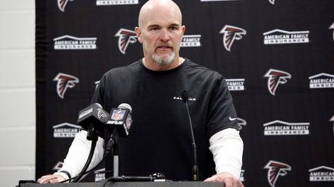 <p>               Atlanta Falcons head coach Dan Quinn speaks to members of the media following an NFL football game against the Carolina Panthers in Charlotte, N.C., Sunday, Nov. 17, 2019. (AP Photo/Brian Blanco)             </p>