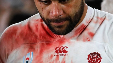 <p>               England's Billy Vunipola reacts at the end of the match after South Africa defeated England to win the Rugby World Cup final at International Yokohama Stadium in Yokohama, Japan, Saturday, Nov. 2, 2019. (AP Photo/Christophe Ena)             </p>