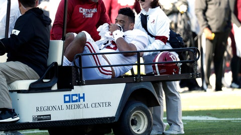 <p>               Alabama quarterback Tua Tagovailoa (13) is carted off the field after getting injured in the first half of an NCAA college football game against Mississippi State in Starkville, Miss., Saturday, Nov. 16, 2019. (AP Photo/Rogelio V. Solis)             </p>