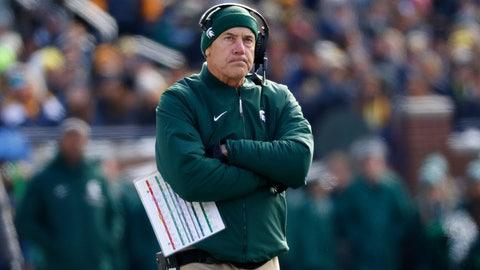 <p>               Michigan State head coach Mark Dantonio watches against Michigan in the first half of an NCAA college football game in Ann Arbor, Mich., Saturday, Nov. 16, 2019. (AP Photo/Paul Sancya)             </p>