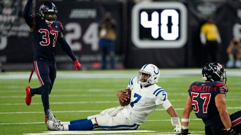 <p>               Indianapolis Colts quarterback Jacoby Brissett (7) is stopped short of a first down during the second half of an NFL football game against the Houston Texans Thursday, Nov. 21, 2019, in Houston. (AP Photo/David J. Phillip)             </p>
