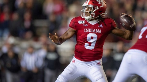<p>               Indiana quarterback Michael Penix Jr. (9) drops back to pass during the first half of an NCAA college football game against Northwestern, Saturday, Nov. 2, 2019, in Bloomington, Ind. (AP Photo/Doug McSchooler)             </p>