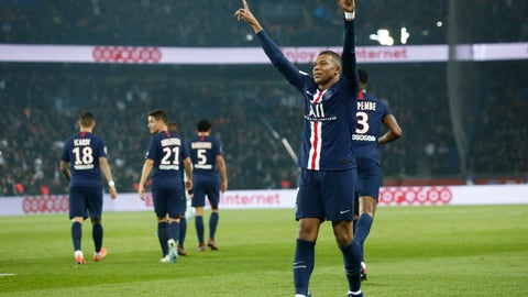 <p>               PSG's Kylian Mbappe celebrates after scoring his side goal during the French League One soccer match between PSG and Marseille at the Parc des Princes stadium in Paris, France, Sunday, Oct. 27, 2019. (AP Photo/Kamil Zihnioglu)             </p>