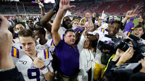 <p>               LSU head coach Ed Orgeron celebrates with his players after defeating Alabama 46-41 in an NCAA college football game, Saturday, Nov. 9, 2019, in Tuscaloosa , Ala. (AP Photo/John Bazemore)             </p>