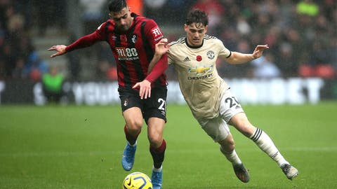 <p>               Bournemouth's Diego Rico, left, and Manchester United's Daniel James battle for the ball during the English Premiership soccer match at The Vitality Stadium, Bournemouth, England, Saturday Nov. 2, 2019. (Mark Kerton/PA via AP)             </p>