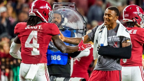 <p>               Alabama wide receiver Jerry Jeudy (4) gets congratulations from Alabama wide receiver DeVonta Smith during the second half of an NCAA college football game, Saturday, Oct. 26, 2019, in Tuscaloosa, Ala. (AP Photo/Vasha Hunt)             </p>