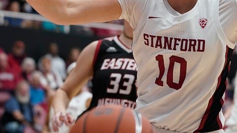 <p>               Stanford forward Alyssa Jerome (10) reacts after losing the ball out of bounds during the first half of the team's NCAA college basketball game against Eastern Washington on Tuesday, Nov. 5, 2019, in Stanford, Calif. (AP Photo/Tony Avelar)             </p>