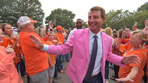 "<p>               Clemson head coach Dabo Swinney greets fans during the ""Tiger Walk"" before an NCAA college football game against Boston College, Saturday, Oct. 26, 2019, in Clemson, S.C. (AP Photo/Richard Shiro)             </p>"