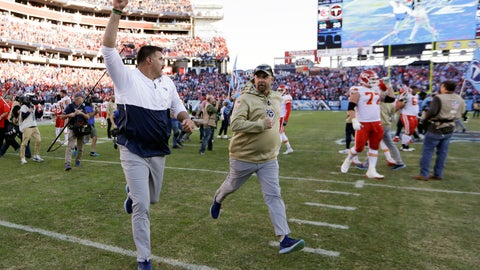 <p>               Tennessee Titans head coach Mike Vrabel runs off the field after an NFL football game against the Kansas City Chiefs Sunday, Nov. 10, 2019, in Nashville, Tenn. The Titans won 35-32. (AP Photo/James Kenney)             </p>